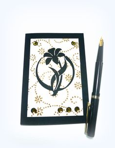 Handmade card Art Deco Flower card Handmade paper Blank greeting card Gold Black Art Deco card Retro card Lily card Birthday mcrtycards UK (3.20 GBP) by McRtyCards