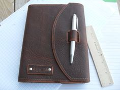 "Handmade refillable leather journal with pen  - ""The Surveyor"""