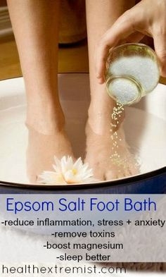 Epsom salt foot soak right before bed helps  sleep. #bath #epsomsalt #natural #healthy