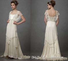 freedomlife Vintage Ivory Wedding Dresses with Sleeves Catherine Deane Lita Modest Fairy Lace Chiffon V-Neck Full Length 2018 Bridal Gowns 1920s Wedding Gown, Wedding Gowns With Sleeves, Dresses With Sleeves, Vintage Wedding Dresses, Lace Wedding, Flapper Wedding, 1920s Flapper, Vintage Bridal, Garden Wedding