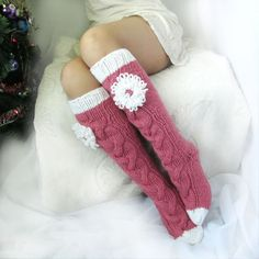 Long pink socks Long socks with a flower Hand knit socks Hand made socks Wool so. Long pink socks Long socks with a flower Hand knit socks Hand made socks Wool socks Warm winter sock. Crochet Socks, Love Crochet, Knitting Socks, Hand Knitting, Knitting Patterns, Holiday Socks, Cozy Socks, Pink Socks, Winter Socks