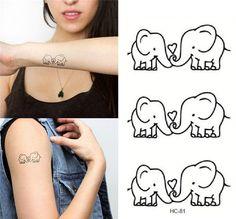 Elephant temporary tattoo set 3,Elephant couple love tattoo,Body art tattoo #TwinkleJewel