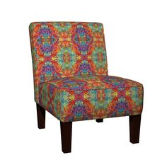 Maran Slipper Chair featuring HOLI HINDU FESTIVAL OF COLORS GEOMETRIC DELHI by paysmage | Roostery Home Decor