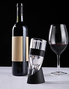 Wine Aerator, Decanter, Filter Gift Set with Stand and Bonus Foil Cutter and Travel Pouch! Drink Great Tasting Wine Without Paying a Premium for the Bottle! ** You can get more details by clicking on the image.