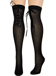 Pointelle Corset Lace Thigh High Socks in Noir
