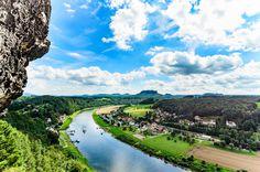 The beautiful Elbe River - Taken from the Bastei bridge area