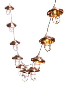 This string of copper lantern lights from Lightning Bug will give your home a warm, rustic feel. Lantern String Lights, Lanterns, Copper Lantern, Copper Lighting, Touch Lamp, Black Table Lamps, Fabric Shades, Light Decorations, Household Items