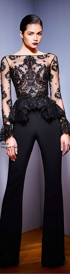 Zuhair Murad ~ Fall Sheer Long Sleeve Embroidered Top w Pant, Black, 2015