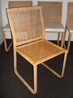Rare Harvey Probber Woven Rattan Dining Chairs | From a unique collection of antique and modern dining room chairs at http://www.1stdibs.com/furniture/seating/dining-room-chairs/