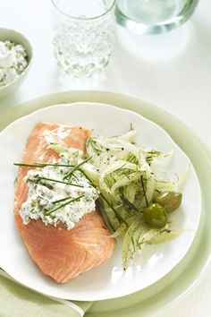Chilled Salmon with Green Olive Sauce