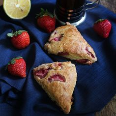 Homebaked, creamy, and moist Strawberry Scones loaded with fresh Baguio strawberries and drizzled with tangy Lemon Glaze. No Bake Desserts, Easy Desserts, Dessert Recipes, Muffin Recipes, Bread Recipes, Good Food, Yummy Food, Delicious Recipes, Strawberry Scones