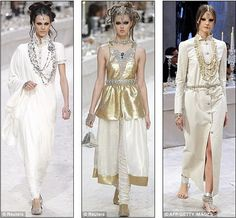 Chanel designer Karl Lagerfeld does it again..Twisted Dreadlocks with beautiful inspired Indian hair Jewelry.