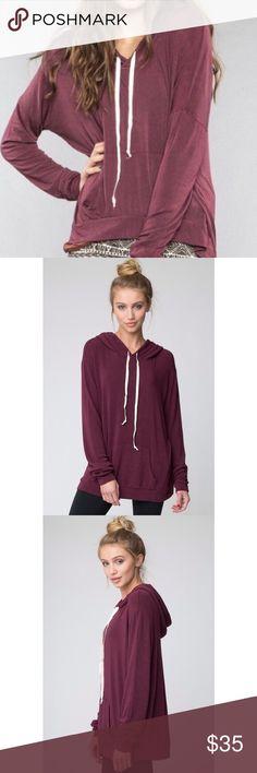 Brandy Melville Layla Hoodie Lightweight hoodie. Kangaroo pocket and drawstring hood. Pull-over. Maroon. One size fits most. Lightly worn! Brandy Melville Tops Sweatshirts & Hoodies