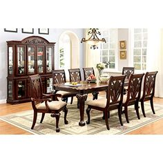Furniture of America Mastens 9 Piece Extendable Dining Set in Cherry