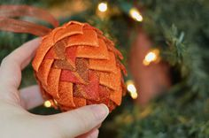 Folded Ribbon Pinecone Ornament Christmas Tree Bauble Handmade Coffee Table Ball Bright Orange Earthtones Unique Gift for Christmas Christmas Baubles To Make, Christmas Tree Ornaments, Christmas Holidays, Triangular Pattern, Pinecone Ornaments, Pine Cone Decorations, Red Pattern, Beautiful Christmas, Pine Cones