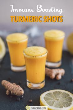 Quick & Easy Turmeric Shot - How to make an immune-boosting turmeric shot with three simple ingredients. It's zesty, refreshing and healthy #turmeric #turmericshot #immuneboosting #vitamincshots #healthyshots #wellnessshots Turmeric Shots, Fresh Turmeric, Non Alcoholic Drinks, Cocktails, Cold Drinks, Beverages, Wellness Shots, Vegan Recipes, Cooking Recipes
