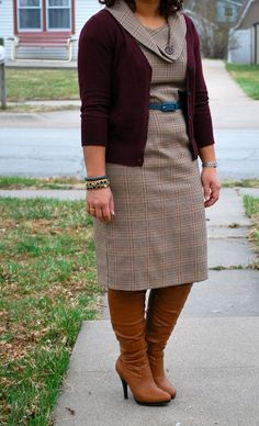 Outfit: Sheath dress and boots | The Small of It - Petite Curvy Fashion