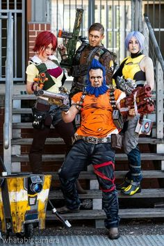 Borderlands cosplay group from EB Expo - Lilith, Axton, Salvador, and Maya
