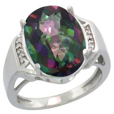 $240.11 USD, Sterling Silver Diamond Mystic Topaz Ring Oval by WorldJewels