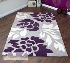 Grey, Purple And Cream Modern New Luxury Rug - 2 Sizes