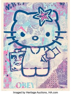Hello Kitty, by Shepard Fairey. One of the most influential street artists working today, Shepard Fairey has created political works acr. Shepard Fairy, Shepard Fairey Obey, Hello Kitty Art, Hello Hello, Decoupage, Hello Kitty Wallpaper, List Of Artists, Tecno, Street Artists