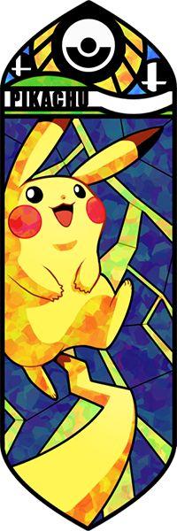 Fan art Pokémon en vitrail - Pikachu