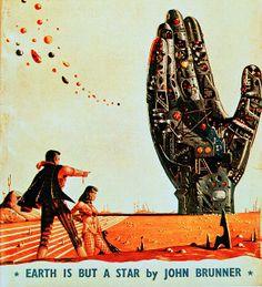 Vintage Illustration by Lee Sutton    (Retro Future - Retro Futurism - Vintage Sci Fi - - martian landscape - Atomic Age - book cover )