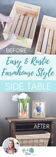 Making Furniture with No Tools DIY Rustic Farmhouse Side Table Farmhouse End Tables, Diy End Tables, Side Tables Bedroom, Country Farmhouse Decor, Farmhouse Furniture, Diy Table, Rustic Furniture, Diy Storage End Table, Bedside Table Ideas Diy