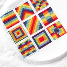 Cross Stitch Rainbow Block 9 -- charts for all available on blog
