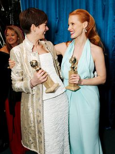 Zero Dark Thirty Best Drama Actress winner Jessica Chastain (catching up with fellow Best Actress winner Anne Hathaway at the Focus/NBC Globes bash)