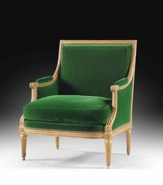Bergère en bois doré d'époque Louis XVI, par Jean-Baptiste Sené, livrée pour le salon des Jeux du roi Louis XVI au château de Fontainebleau en 1787 | lot | Sotheby's