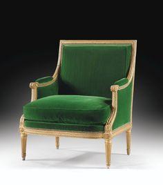 Bergère en bois doré d'époque Louis XVI, par Jean-Baptiste Sené, livrée pour le salon des Jeux du roi Louis XVI au château de Fontainebleau en 1787   lot   Sotheby's