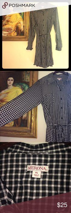 "NWOT Merona Gingham Shirt Dress XL NWOT Merona Gingham Shirt Dress XL. Button down. Tie waist. Length: 39"", waist: 22"" flat. Merona Dresses Long Sleeve"