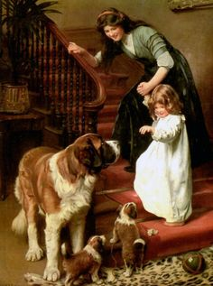 Arthur John Elsley (1860-1952) this life complete with child, dog and puppies