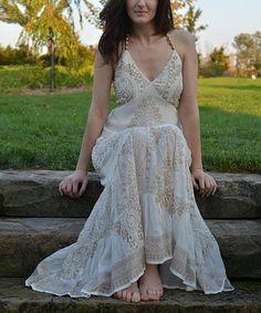 Look what I found on #zulily! White & Gold V-Neck Maxi Dress #zulilyfinds