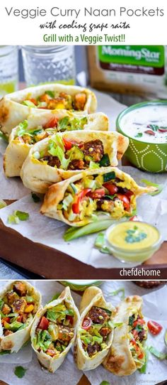 Indian Curry Naan Pockets for an easy Vegetarian Dinner, Ready in no time and packed woth ton of flavor Served with 5-minute Curry Dressing and Cooling Grape Raita |