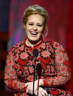 When she laughed all adorably like this. | The 21 Most Adorable Adele Moments At The Grammys