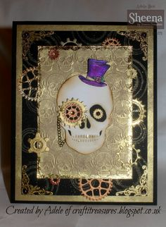 Skullduggery folder, combined with Sheena's Day of the dead Skull die and Sara Davies Just for Men cogs and gears.