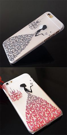 Fashion Painted Pattern Rhinestone Case for iPhone Puls Cool Iphone Cases, Diy Phone Case, Iphone Phone Cases, Iphone 6, Iphone Leather Case, Mobile Covers, Cute Cases, Fashion Painting, Iphone Accessories