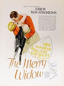 The Merry Widow is a 1925 American silent MGM romantic drama film and black comedy directed and written by Erich von Stroheim. The film stars Mae Murray, John Gilbert and Roy D'Arcy.  Joan Crawford and Clark Gable had uncredited roles in the film. This movie had a color sequence by Technicolor at the end[3], the Technicolor sequence is lost. The rest of this movie still survives.
