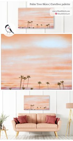 BlushBird is an online store that sells affordable art, organized by color palettes and is available as prints, canvas, tote bags and pillows. Sunset Beach California, Sky Painting, Affordable Art, Palm Trees, Interior Decorating, Palette, Display, Colour, Website