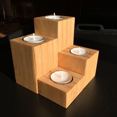 Plywood scraps #upcycled to tealight holder. Mod. 369