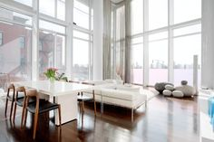Interior Design, Glass Wall White Beige Sectional Sofa Dining Table Flower  Vase Dining Chairs Grey Transparent Draw Curtain Brown Yellowish Wooden  Floor ...