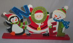 Wood Wooden Christmas Noel Santa Claus Penguin Snowman Sign Plaque Decoration