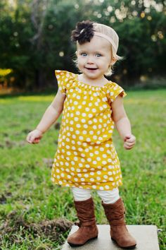 Mustard Yellow White Polka Dot Fall Thanksgiving Baby Toddler Peasant Dress on Etsy, $27.50