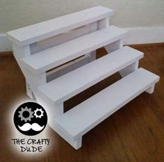 white wooden stair cupcake stand fot capacity of 24 cupcakes by woodlandstore on Etsy Cake And Cupcake Stand, Cupcake Display, Bar Deco, Bar A Bonbon, Dessert Stand, Wooden Stairs, Tiered Stand, Diy Holz, Backdrops For Parties