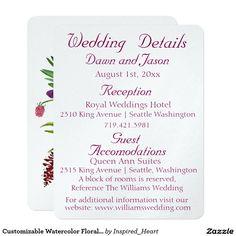 Customizable Watercolor Floral WEDDING DETAILS