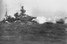 Scharnhorst in heavy seas, showing mainmast shipped aft (see Gneisenau photo nearby).  She was sunk in a pure surface action (no air involvement) at the Battle of North Cape in December 1943 by the battleship HMS Duke of York and supporting units.