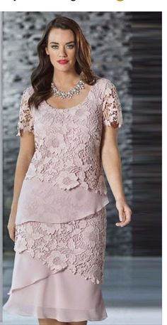 Fully lined dress Layers of chiffon and lace Lace sleeves Colour: Dusky Pink, also comes in Navy, Magenta/Bright Purple and Black Please Note You Can Buy A Matching Chiffon Jacket Or/And A Scarf (Contact Our Oakleigh Store on Mother Of Groom Dresses, Mothers Dresses, Sewing Dress, Mom Dress, Mode Inspiration, Lace Sleeves, Special Occasion Dresses, Plus Size Dresses, Short Dresses