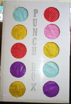 "It's called a ""Punch Box"" and it's a great alternative to a pinata. Instead of beating on a pinata with a stick, each person punches through one of the pretty colored circles in order to grab the prize inside. A great idea for a take home party favor. Birthday Fun, Birthday Parties, Kids Birthday Party Games, Game Party, Party Prizes, Kid Parties, Diy 3 Year Old Birthday Party, Party Party, Kid Party Activities"